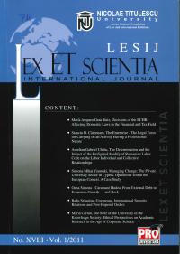 LESIJ XVIII vol 1 2011